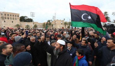 Thousands of people gather at Martyr's Square within a funeral ceremony held after an airstrike on a military school in the south of the Libyan capital of Tripoli by jets loyal to renegade military commander Khalifa Haftar, in Tripoli, Libya on January 05, 2020.