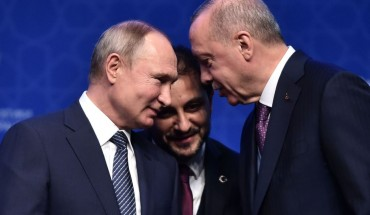"Russian President Vladimir Putin (L) and Turkish President Recep Tayyip Erdogan (R) speak as they attend an inauguration ceremony of a new gas pipeline ""TurkStream"" on January 8, 2020 in Istanbul."