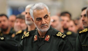 A file photo dated September 18, 2016 shows Iranian Revolutionary Guards' Quds Force commander Qasem Soleimani during Iranian Supreme Leader Ayatollah Ali Khamenei's meeting with Revolutionary Guards, in Tehran, Iran.