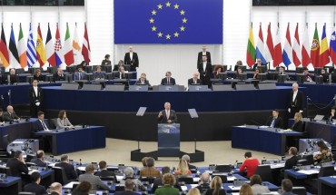 Jordanian King Abdullah II gestures as he delivers a speech at the European Parliament, on January 15, 2020, in Strasbourg, eastern France.