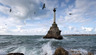 FEBRUARY 28, 2020: A view of the Monument to the Sunken Ships during a storm on the Black Sea. Sergei Malgavko/TASS (Photo by Sergei Malgavko\TASS via Getty Images)