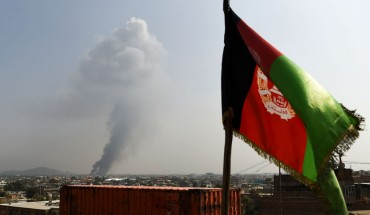 Smoke rises from the site of an attack after a massive explosion the night before near the Green Village in Kabul on September 3, 2019. - A massive blast in a residential area of Kabul killed at least 16 people, officials said on September 3, yet another Taliban attack that came as the insurgents and Washington try to finalise a peace deal.