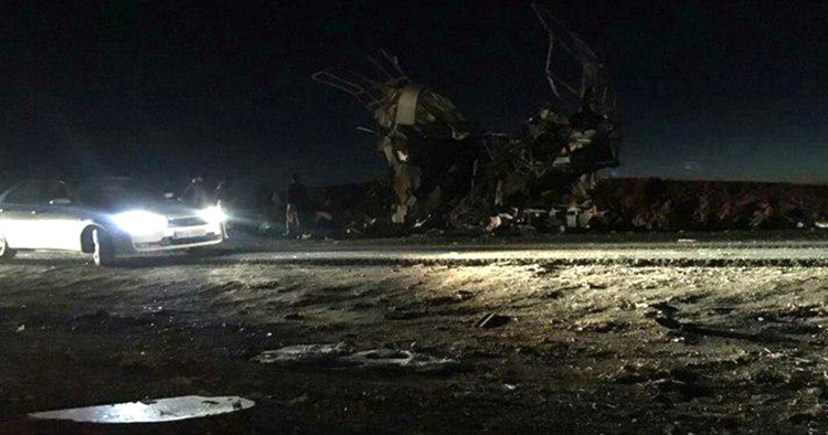 Scene of the suicide attack on a Revolutionary Guards bus on Khash-Zahedan road in Iran's Sistan and Baluchestan Province on February 13, 2019. At least 20 members of Iran's Revolutionary Guards were killed in a suicide bombing in southeastern Iran.