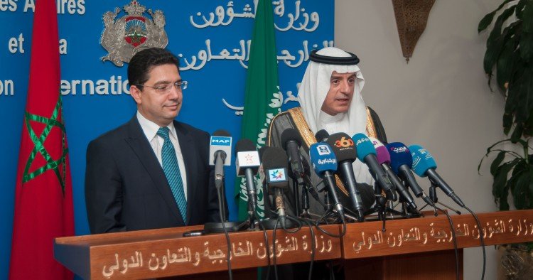 Minister of Foreign Affairs of Saudi Arabia Adel al-Jubeir (R) and Morocco's Minister of Foreign Affairs and International Cooperation Nasser Bourita (L) hold a joint press conference after their meeting in Rabat, Morocco on May 8, 2017.