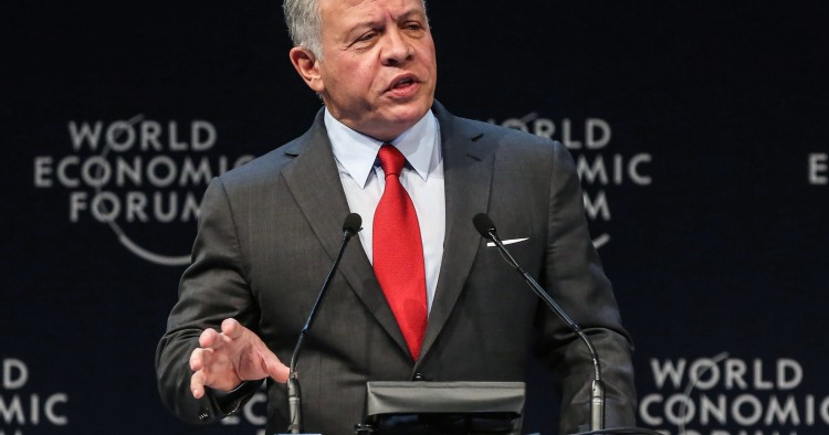 Jordan's King Abdullah II speaks during the opening ceremony of the 2019 World Economic Forum on the Middle East and North Africa, at the King Hussein Convention Centre at the Dead Sea, in Jordan on April 6, 2019.