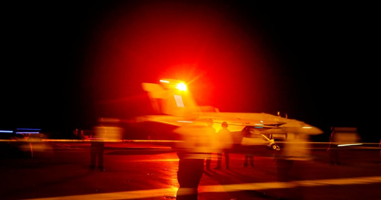 An F/A-18E Super Hornet from Strike Fighter Squadron 86 launches from the flight deck of the Nimitz-class aircraft carrier USS Abraham Lincoln May 10, 2019 in the Red Sea.