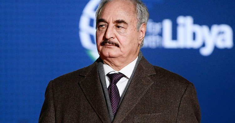 Self-proclaimed Libyan National Army (LNA) Chief of Staff, Khalifa Haftar arrives for a conference on Libya on November 12, 2018 at Villa Igiea in Palermo. - Libya's key political players meet with global leaders in Palermo on November 12 in the latest bid by major powers to kickstart a long-stalled political process and trigger elections. (Photo by Filippo MONTEFORTE / AFP) (Photo credit should read FILIPPO MONTEFORTE/AFP/Getty Images)