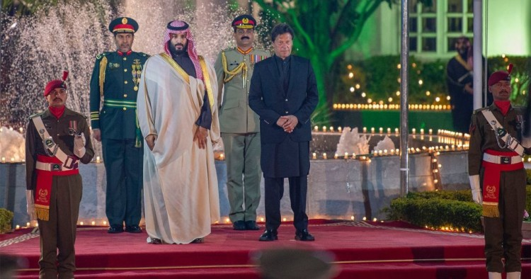 Crown Prince of Saudi Arabia Mohammad bin Salman is welcomed by Prime Minister of Pakistan Imran Khan ahead of their meeting in Islamabad, Pakistan on February 17, 2019.