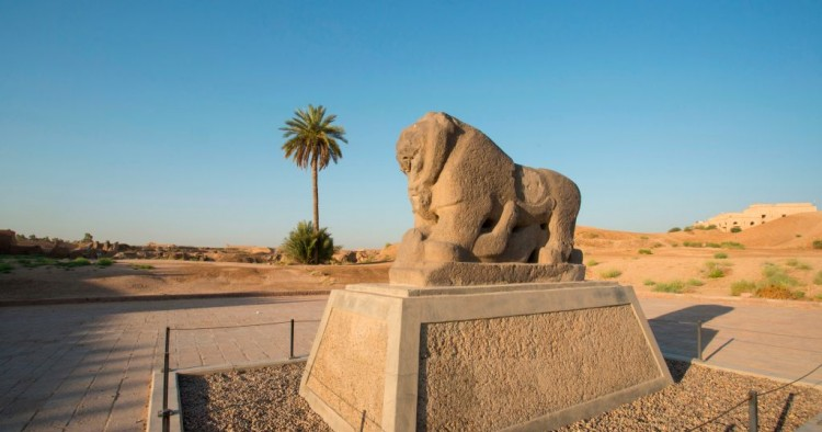 A picture taken on June 29, 2019 shows the Babel's Lion at the ancient archaeological site of Babylon, south of the Iraqi capital Baghdad.