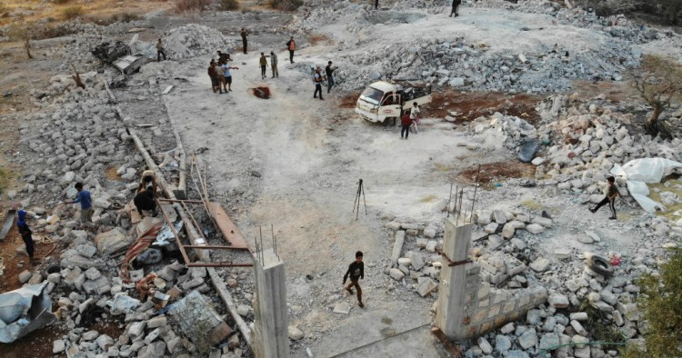 "An aerial view taken on October 27, 2019 shows the site that was hit by helicopter gunfire which reportedly killed nine people near the northwestern Syrian village of Barisha in the Idlib province along the border with Turkey, where ""groups linked to the Islamic State (IS) group"" were present, according to a Britain-based war monitor with sources inside Syria."