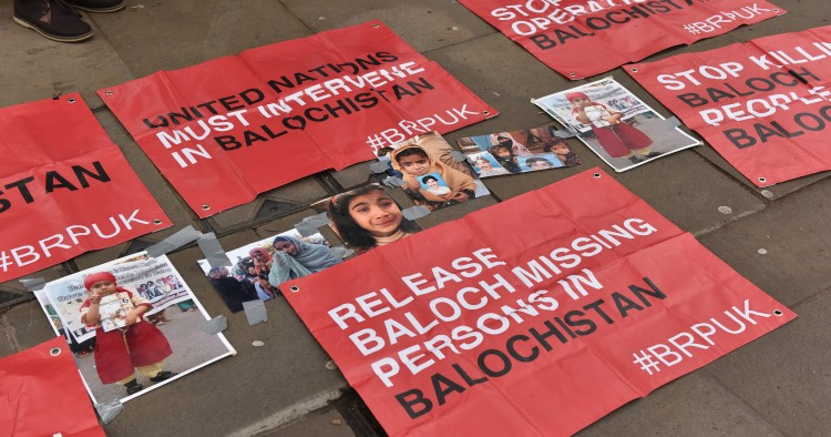LONDON, ENGLAND - JANUARY 22: People campaign for the United Nations to intervene regarding Baloch missing persons in Balochistan, Pakistan close to Downing Street on January 22, 2019 in London, England. (Photo by John Keeble/Getty Images)