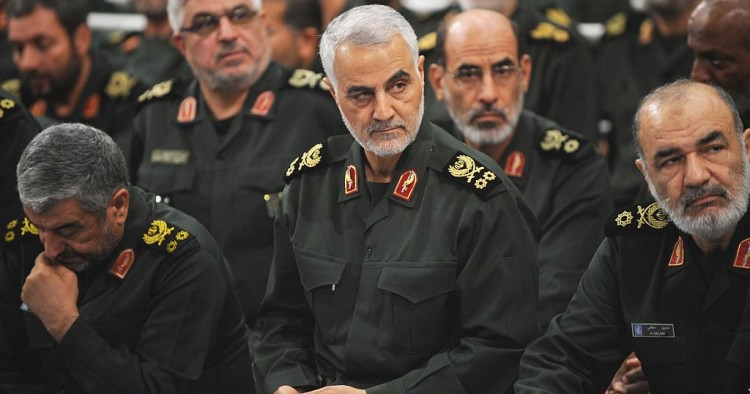 Iranian Quds Force commander Qassem Soleimani (C) attends Iranian supreme leader Ayatollah Ali Khamenei's (not seen) meeting with the Islamic Revolution Guards Corps (IRGC) in Tehran, Iran on September 18, 2016.