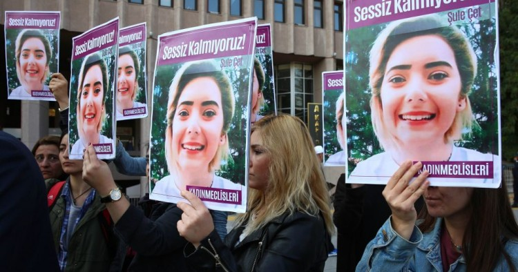 Women protest femicide before the trial regarding the death of Sule Cet, who was allegedly killed by being thrown off the 20th floor of a luxury building in Ankara, on November 8, 2018.