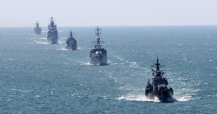 Bulgarian and NATO navi ships take part during Bulgarian-NATO military navy exercise in the Black sea, east of the Bulgarian capital Sofia, Friday, July, 10, 2015.