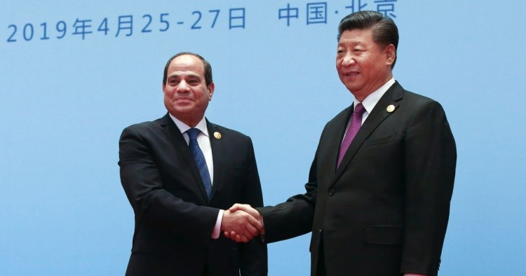China's President Xi Jinping (R) welcomes Egypt's President Abdel Fattah el-Sisi at the Second Belt and Road Forum.
