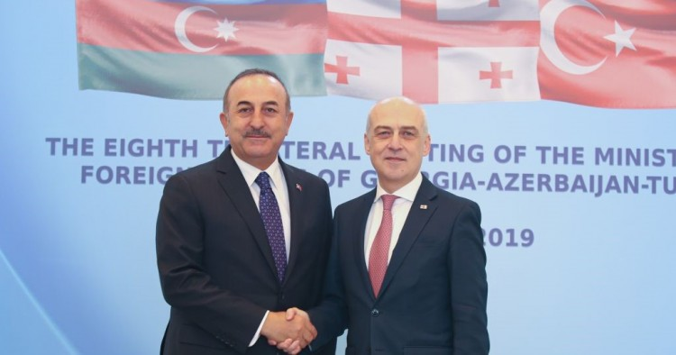 Foreign Minister of Turkey Mevlut Cavusoglu (L) meets Foreign Minister of Georgia David Zalkaliani (R) in Tbilisi, Georgia on December 23, 2019.