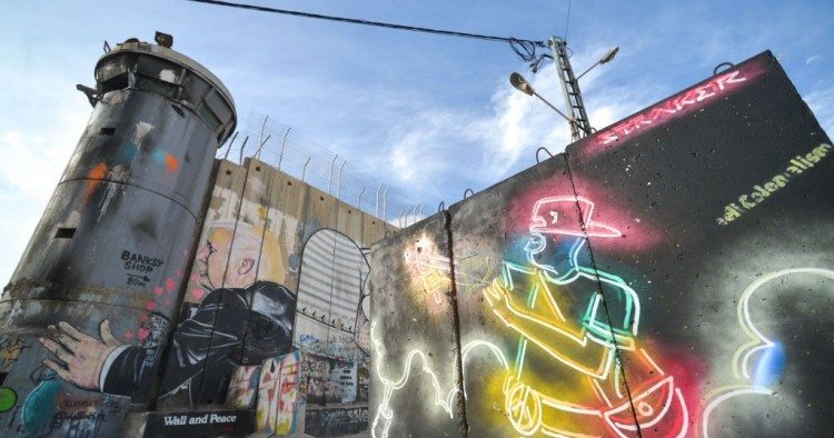 Political and social mural paintings and graffiti on the Israeli West Bank barrier in Bethlehem.