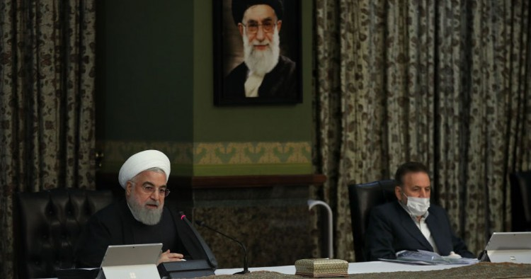 Iranian President Hassan Rouhani makes a statement on coronavirus, at the cabinet meeting in Tehran, Iran on March 11, 2020. Except President Rouhani, all of the members of the cabinet participated in the meeting with protective masks.