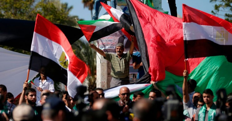 A man waves a Palestinian flag while protesting.