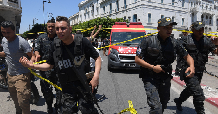 A suicide attack targeted police on the main street of Tunisia's capital morning, wounding a civilian and several police personnel, a police officer at the scene told AFP. (Photo by Fethi Belaid / AFP) (Photo credit should read FETHI BELAID/AFP via Getty Images)