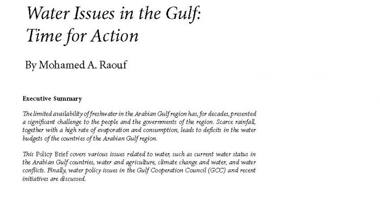 Water Issues in the Gulf: Time for Action | Middle East