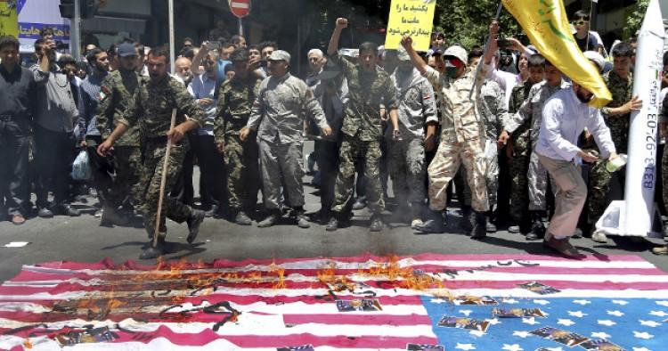 Iranian Demonstrators Chant Slogans against U S  and Saudi
