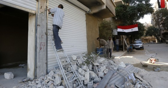Syrians rebuild their homes in the town of Harasta