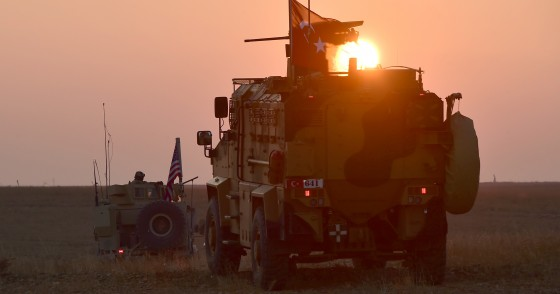 Armoured vehicles of Turkish and U.S. troops