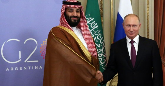 Mohammad bin Salman and Vladimir Putin at the G20