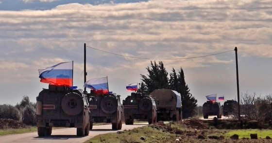 An image grab taken from AFP TV on January 17, 2019, shows a Russian army vehicles on patrol in the area of Arimah, just west of Manbij.