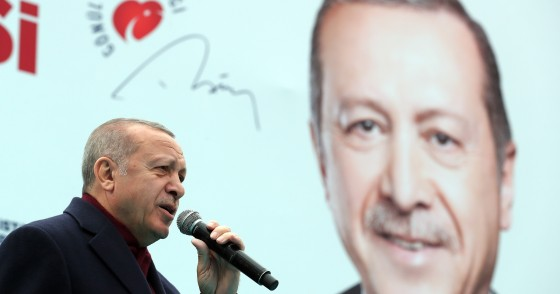 President of Turkey and the leader of Turkey's ruling AK Party Recep Tayyip Erdogan delivers a speech during a campaign rally for March 31 local elections in Gaziosmanpasa district of Istanbul, Turkey on March 16, 2019.