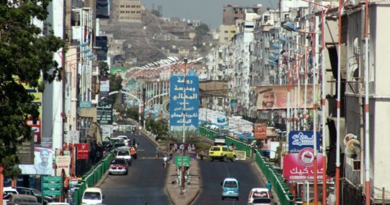 A view of a main street in Yemen's second city of Aden, held by forces loyal to the Saudi-backed government, amidst protests against inflation and the rise of living costs.