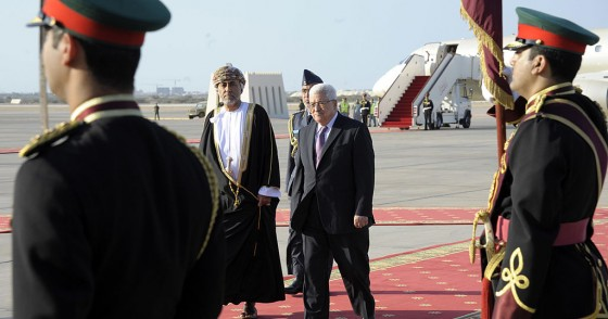 In this handout from the Palestinian Press Office, Palestinan President Mahmoud Abbas (R) meets with Oman's Sultan Qaboos bin Said on January 14, 2010 in Muscat, Oman.