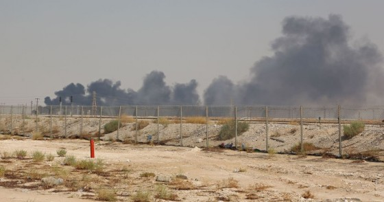 Smoke billows from an Aramco oil facility in Abqaiq about 60km (37 miles) southwest of Dhahran in Saudi Arabia's eastern province on September 14, 2019.