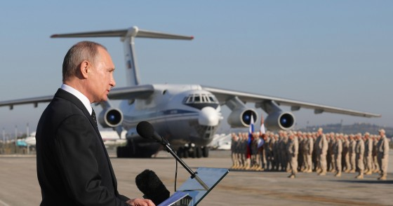 LATAKIA, SYRIA DECEMBER 11, 2017: Russia's President Vladimir Putin addresses Russian forces at the Russian Hmeimim air base. Putin has ordered Russian troops to start pulling out of Syria. Mikhail Klimentyev/Russian Presidential Press and Information Office/TASS (Photo by Mikhail Klimentyev\TASS via Getty Images)