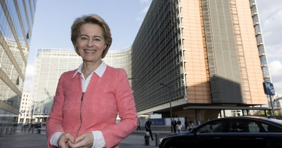 BRUSSELS, BELGIUM - SEPTEMBER 10, 2019: EU Commission President-elect Ursula von der Leyen is posing in front of the Berlaymont, the EU Commission headquarter on September 10, 2019. Today, the elected President Ursula von der Leyen presented the new Commission, it will reflect the priorities and ambitions set out in the Political Guidelines. The Commission is structured around the objectives President-elect von der Leyen was elected on by the European Parliament. (Photo by Thierry Monasse/Getty Images)