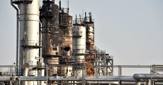 A destroyed installation in Saudi Arabia's Abqaiq oil processing plant is pictured on September 20, 2019.