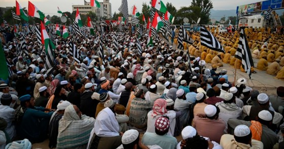 "Activists and supporters of Islamic political party Jamiat Ulema-e-Islam (JUI-F) attend an anti-government ""Azadi (Freedom) March"" in Islamabad on November 5, 2019."