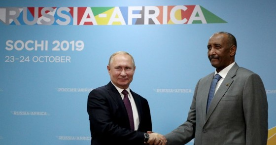 Russias President Vladimir Putin and the Chairman of the Sovereignty Council of Sudan, Abdel Fattah al-Burhan shake hands during a meeting on sidelines of the 2019 Russia-Africa Economic Forum at the Sirius Park of Science and Art.