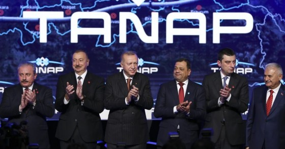 Turkish President Recep Tayyip Erdogan (3rd L) and Azerbaijani President Ilham Aliyev (2nd L) attend the opening ceremony of the TANAP-Europe connection in Ipsala district of Edirne, Turkey on November 30, 2019.