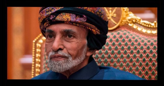 Sultan of Oman Qaboos bin Said al-Said sits during a meeting with the US secretary of state at the Beit Al Baraka Royal Palace in Muscat on January 14, 2019.