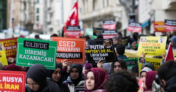 Women in Istanbul hold banners which read murderer Russia, murderer Iran, murderer Esed during the protest on February 29, 2020 after 33 Turkish soldiers were killed in Idlib, Syria on 27 February.