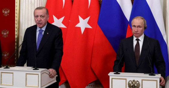 Turkey's President Recep Tayyip Erdogan (L) and Russia's President Vladimir Putin at a press conference following their meeting at the Moscow Kremlin.