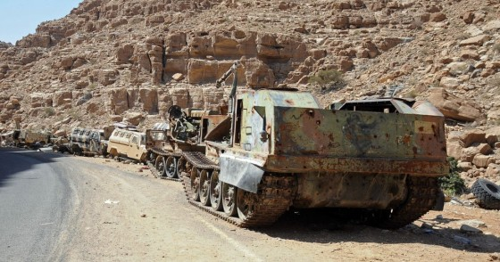 destroyed military vehicles are seen at Houthi-controlled areas following heavy fighting between them and forces loyal to the internationally recognized government on February 6, 2020 in Al-Jawf province, Yemen.