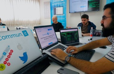 "Engineers from the Israeli company ""Commun.it"" use their expertise in social media commercial analysis to identify networks of fake users, at their offices in the Israeli city of Bnei Brak near Tel Aviv on January 23, 2019."