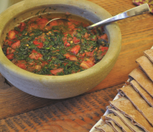 Dagga (Salata Ghazaqiyya) or Gazan Hot Tomato and Dill Salad. (Photo by Laila El-Haddad and Maggie Schmitt. Adapted from The Gaza Kitchen: A Palestinian Culinary Journey, 2nd Edition, Just World Books, 2016)