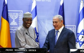Israeli Prime Minister Benjamin Netanyahu (R) shakes hands with Chadian President Idriss Deby as they deliver joint statements in Jerusalem November 25, 2018.