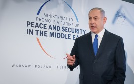 Benjamin Netanyahu before the second day of an international conference devoted to peace and security in the Middle East organised by Poland and the USA, February 14, 2019.