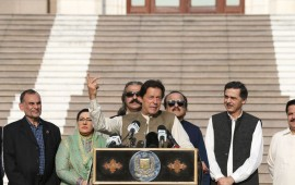 Pakistan's Prime Minister, Imran Khan (Front) addresses the gathering as they take part in an human chain in solidarity with Indian Kashmiri Muslims, in Islamabad on October 11, 2019.