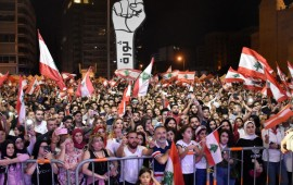 People gather stage an anti government protest in Beirut, Lebanon on November 10, 2019.